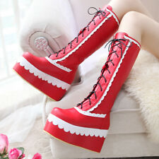 Lotia Women Cosplay Knee High Boot lace-up wedge heel platform Prom pumps Shoe