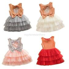 Baby Girl Kids Sequined Bow Dress Toddler Party Wedding Tulle Tutu Cake Dress