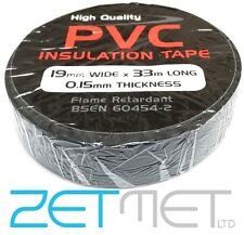 BLACK PVC Electrical Insulation / Insulating Tape 19mm x 33m Flame Retardant