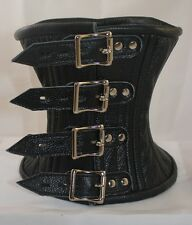 Locking Buckle Real Leather Over Mouth Neck Corset Collar Black