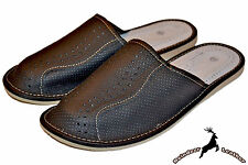 Mens Genuine Leather Handmade Indoor Black Slippers Sandal Slip S Scuff All Size
