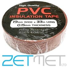 BROWN PVC Electrical Insulation / Insulating Tape 19mm x 33m Flame Retardant