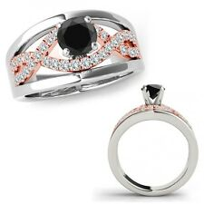 1.25 Ct Black Diamond Halo Engagement Fancy Infinity Ring Band 14K Rose Two Gold