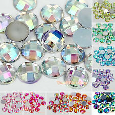 200pcs AB Colors Round Checker Cut Acrylic Flat Back Rhinestones Scrapbook Craft