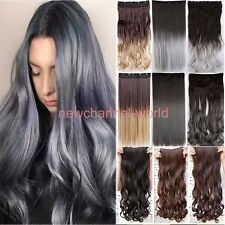 Dip Dye Ombre 3/4 Full Head Clip in Hair Extensions Extension Real mega as Human