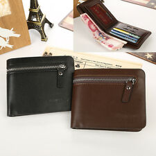 PU Leather Mens Bifold Wallet Credit/ID Card Holder Slim Coin Purse Money Clip