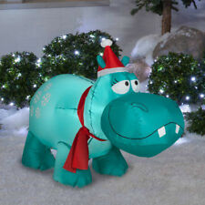 outdoor decro yard 4' Gemmy Airblown Inflatable Snowflakes Hippo Christmas