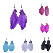 1 Pair Jewelry Goose Feather Earrings Dangle Hook Eardrop Bohemia Charm Party