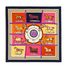 French Classic Horse Elegant Jacquard Women's 100% Silk Shawl Square Wrap Scarf