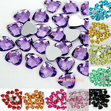 Heart 8/10/12mm Colors Acrylic Faceted Rhinestones Flat Back Scrapbooking Craft