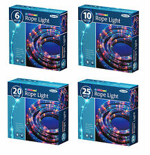 6/10/20/25M MULTI COLOURED ROPE LIGHTS 8 MOOD INDOOR OUTDOOR XMAS PARTY LIGHTING