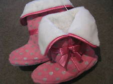BNWT GIRLS PINK SLIPPERS SIZE  2 or 3 RUBBERY SOLES SILVER HEARTS FURRY INSIDE