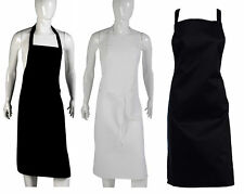 100% Cotton Catering Bib Apron Professional Knee Length Plain Pinny Chefs Cooks
