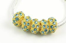 5x, 10x, 20x, Crystal Spacer Golden Charm Beads Fit European Bracelet Color