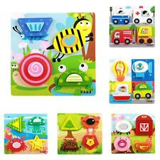 Children Kids Jigsaw Chunky Wooden Animal Game Puzzle Toddler Preschool Baby Toy