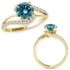 1 Ct Blue Diamond By Pass Solitaire Halo Engagement Ring Band 14K Yellow Gold