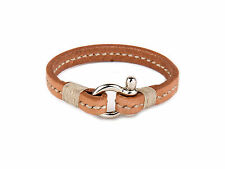 Brown Leather Cord Bracelet With Beige Stripe And Stainless Steel Lock
