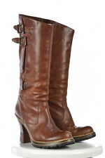 Frye Womens Brown Mid Calf Boots Sz 8.5M Distressed Leather Heels Shoes