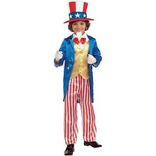 Boys Uncle Sam USA Costume Historical Book Week Halloween Party Outfit & Hat