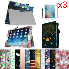 Folio Stand Case Magnetic Cover for Apple iPad Tablets + 3 Pcs Screen Protector