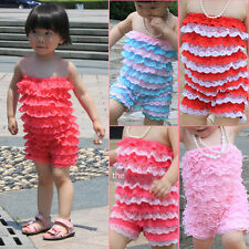 Cute Baby Girls Toddlers Lace Ruffles One-Piece Petti Romper Jumpsuit 3-18 month
