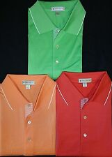 MENS PETER MILLAR S/S SOLID LISLE w/ TRIM COLLAR POLO SHIRT, LARGE, PICK A COLOR