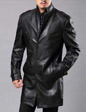 Brand New Men's Genuine Real Soft Lambskin Leather Trench Coat Long Jacket TR04