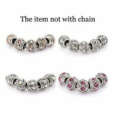 5pcs Fashion Rhinestone European Charms Charm Beads fit snake chain bracelet