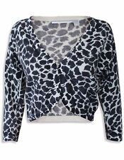 NEW Ex Wallis Ladies Black & White Animal Print Knitted Shrug Bolero Cardigan