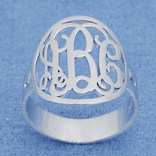 Circle Monogram Ring Sterling Silver 3 Initials Personalized Fine Jewelry SR32