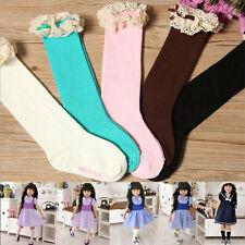 Children Girls Lace In Tube Socks Knee-high Socks Pure Color Tight