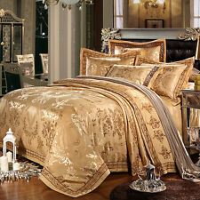 MAJESTY 4-Piece Luxury Sheets Gold Duvet Cover Set, Queen, Double/Full