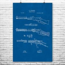 Winchester Lever Action Rifle Poster Patent Art Print Gift Hunting Hunter Sharp