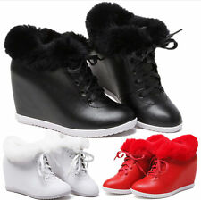 Women Shoes Rabbit Fur Fashion Leather Sneakers Wedge Ankle Boots Winter Oxfords