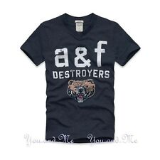 NEW ABERCROMBIE & FITCH KIDS * A&F Boys V-Neck Graphic Tee T Shirt Navy M XL