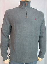 NWT Men's Polo Ralph Lauren French Rib Half Zip 1/2 Pullover Sweater Grey L