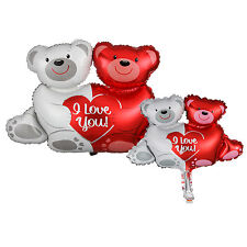 Red & White Bear Heart Foil Balloon Party Decor I Love You Gifts Valentines