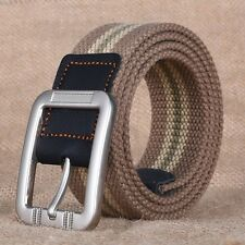 Men Canvas Striped Belt Woven Outdoor Sports Pin Buckle Waist Strap Dress Belt