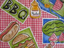 "New Summer Fun Vinyl Tablecloth Barbecue Theme BBQ 52""x 52"" Square & 60"" Round"
