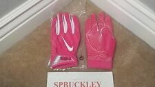 NIKE SUPERBAD 4 ADULT PADDED FOOTBALL GLOVES, PINK, NFL ISSUED, BCA, NEW, PGF440