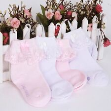 Baby Girls Lace Ruffle Frilly Ankle Socks Sweet Princess Cotton Short Socks