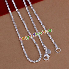 Genuine 925 Sterling Silver Plate Twist Rope Necklace Chain Italy 2mm 4mm Sn1203