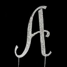 Large Rhinestone Silver Letter Crystal Monogram Letter Cake Topper Choose Letter