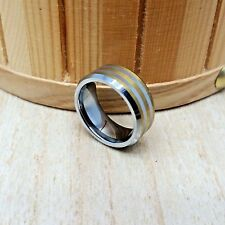 8mm wide Tungsten Carbide Gold Plated Stripe Pattern Wedding Band Ring