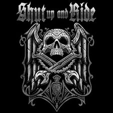 Shut Up & Ride Bikers Creed Skull Wrenches Angel Wings Motorcycle T-Shirt Tee