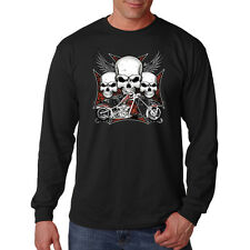 Three Skulls Motorcycle Biker Chopper Iron Cross Long Sleeve T-Shirt Tee