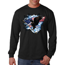 Patriotic American Eagle USA Flag Clouds United States Long Sleeve T-Shirt Tee