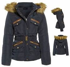 Womens Ladies Faux Fur Lined Puffer Padded Quilted Roma Parka Jacket Coat