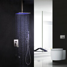 LED 8'' Rain Shower Head System Set With Handshower Tub Spout in Brushed Nickel