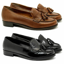 Womens Ladies Leather Office Shoes Formal Loafers Smart Court Moccasins Shoes